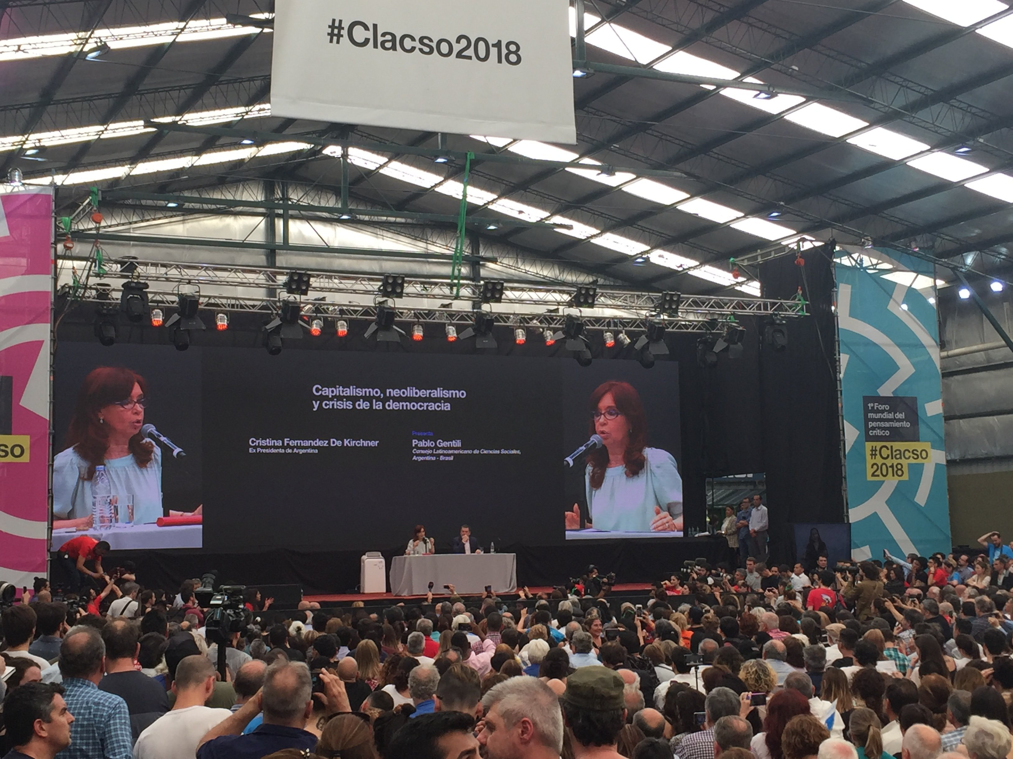 La expresidenta Cristina Fernández de Kirchner durante el Foro anual de Clacso