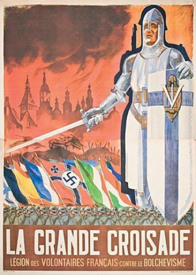 Pancarta de la Segunda Guerra Mundial que llama a los franceses unirse a la 'Gran Cruzada' europea contra el bolchevismo