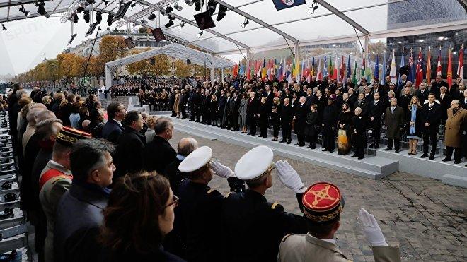 Ceremonia conmemorativa en honor al centenario del fin de la Primera Guerra Mundial, París, 11 de noviembre de 2018