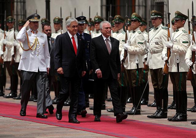 Sebastián Piñera, presidente de Chile y su homólogo de Brasil Michel Temer