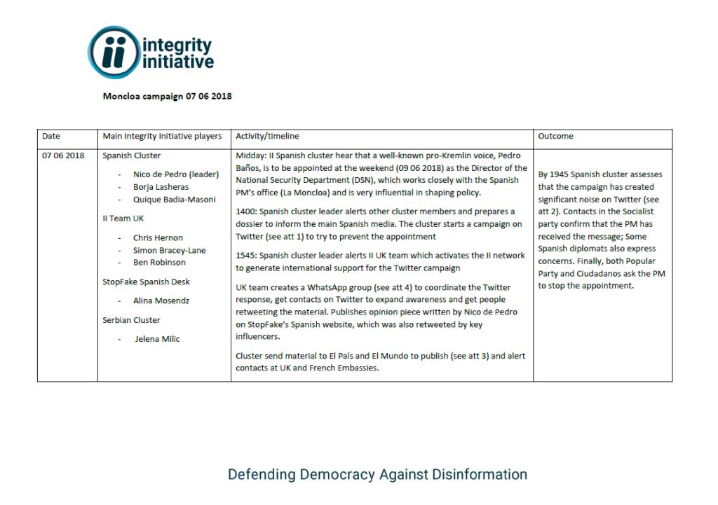 Documento proporcionado por Anonymous que describe el desarrollo de la operación Moncloa