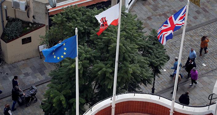 Las banderas de la UE, Gibraltar y el Reino Unido