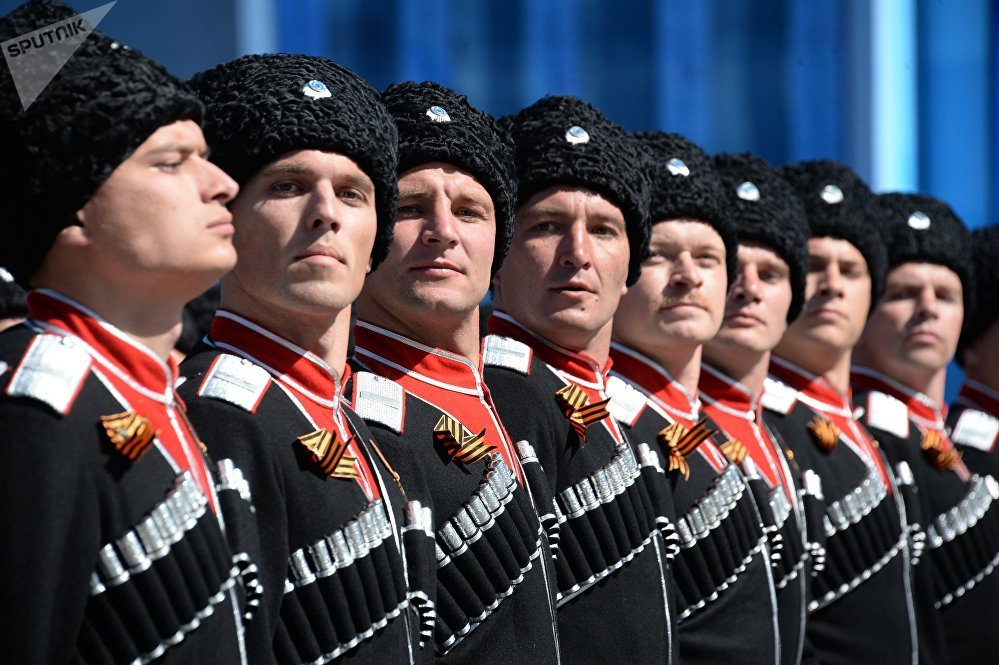 Cosacos de Kubán durante el Desfile de la Victoria en la Plaza Roja