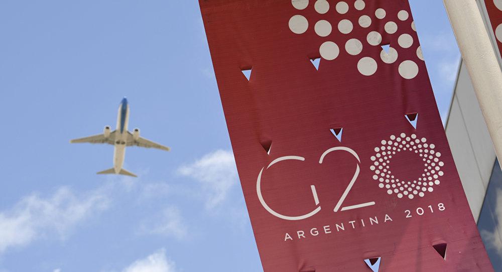 Pancarta de la cumbre G20 en Buenos Aires (Argentina)