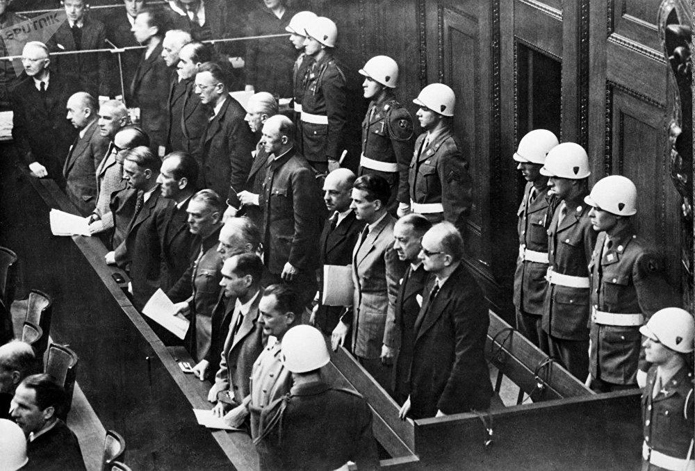 Banquillo de los acusados durante los juicios de Núremberg