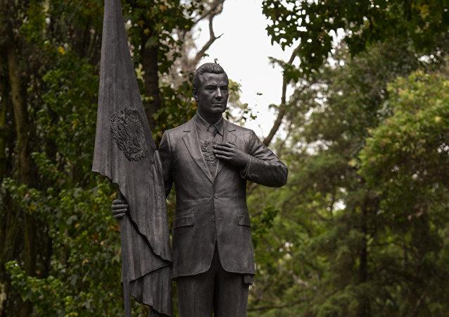 Estatua del presidente mexicano Enrique Peña Nieto (2012-2018) en la residencia oficial de Los Pinos