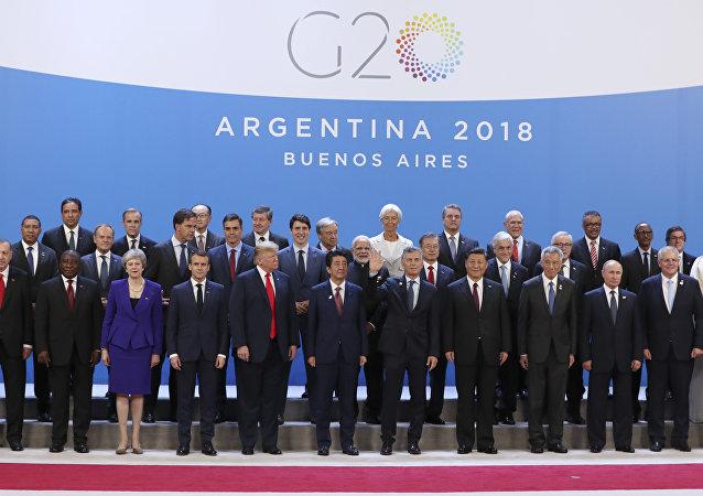 Foto común de los líderes participantes en la cumbre del G20 en Buenos Aires, 31 de noviembre de 2018