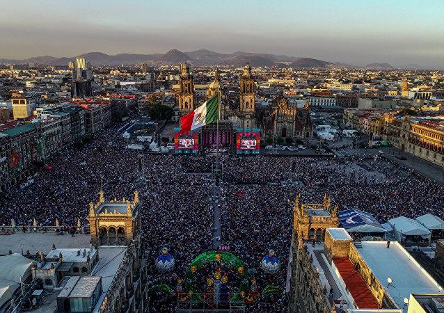 La vista aérea del Zocalo, plaza principal de Ciudad de México