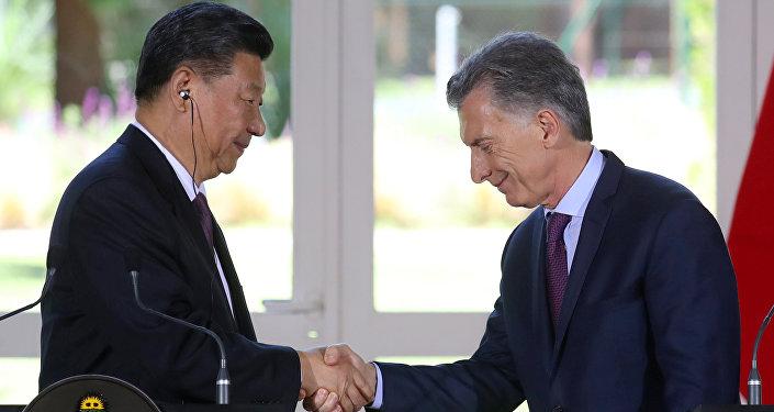 Presidente de China, Xi Jinping, y presidente de Argentina, Mauricio Macri
