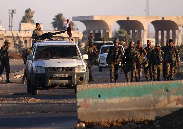 Militares sirios en el paso de Nasib, foto de archivo