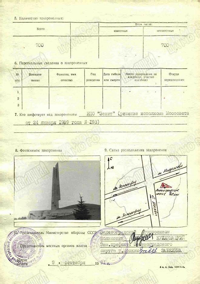 La tarjeta de registro de la fosa común donde los soldados soviéticos que defendieron Moscú fueron enterrados entre noviembre y diciembre de 1941