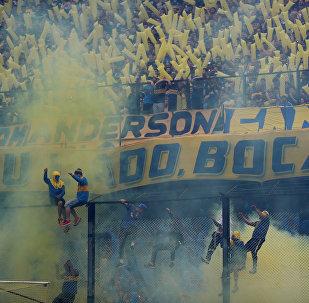 Los hinchas en el partido entre su equipo y River Plate en la final de la Copa Libertadores de América