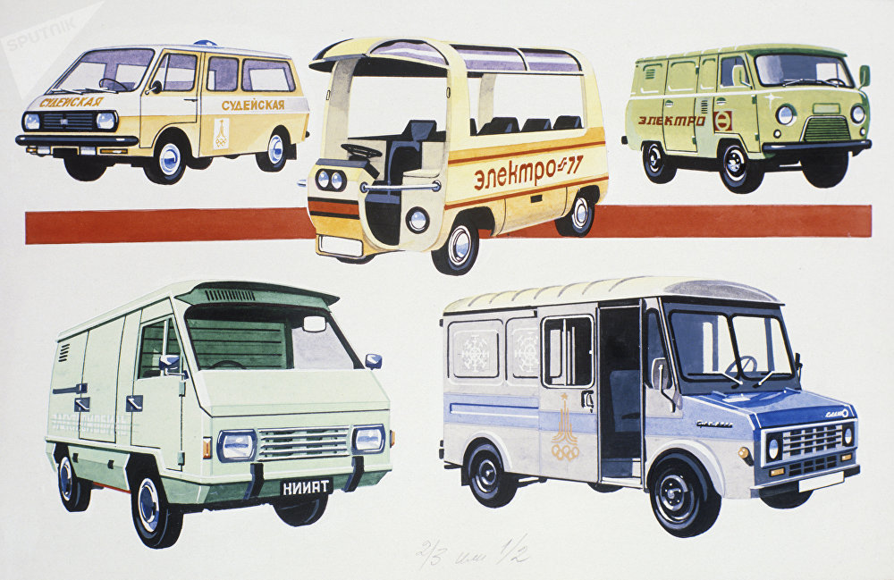 Dibujo de Yuri Dolmatovski. Autos eléctricos RAF-2210, Electro-77 y UAZ-51 (arriba); autos eléctricos del Instituto científico de investigación de transporte y la fábrica de Ereván (abajo)