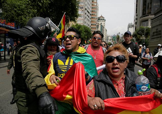 Protesta contra repostulación de Evo Morales en Bolivia