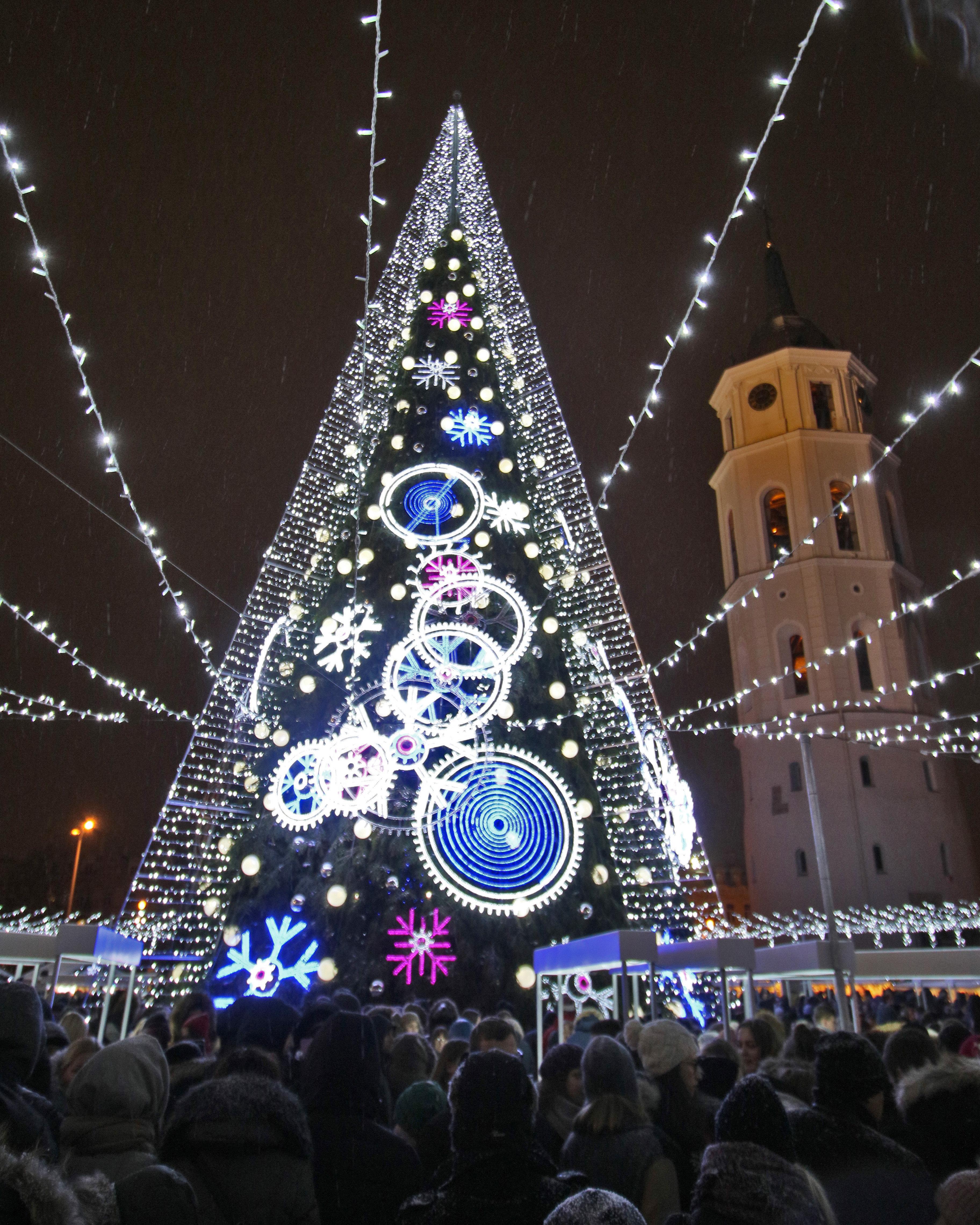 Un árbol de Navidad iluminado que se muestra fuera de la Catedral durante la ceremonia de iluminación en Vilna, Lituania
