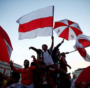 Los hinchas de River Plate en Madrid
