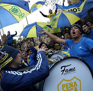 Los hinchas de Boca Juniors en Madrid