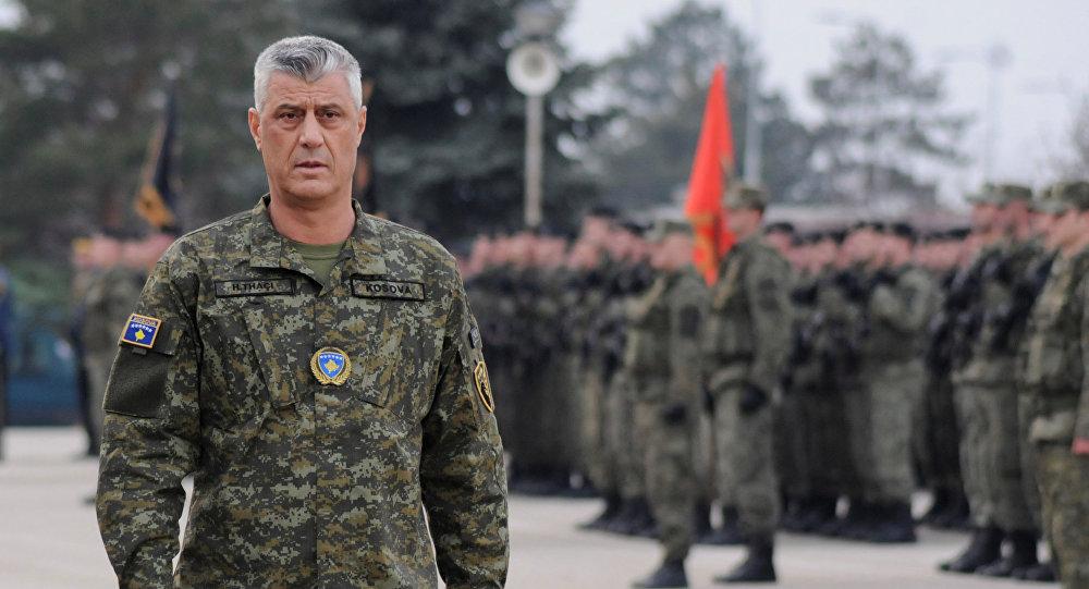 Hashim Thaci, el presidente kosovar, en una ceremonia de las Fuerzas de Seguridad de Kosovo
