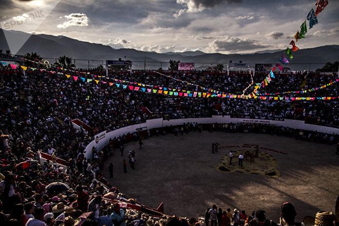 Plaza de toros Belisario Arteaga donde se llevó a cabo el porrazo