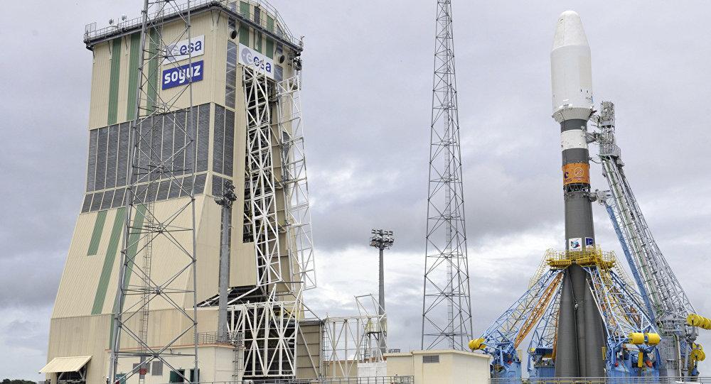Un cohete portador ruso Soyuz en la Guayana Francesa