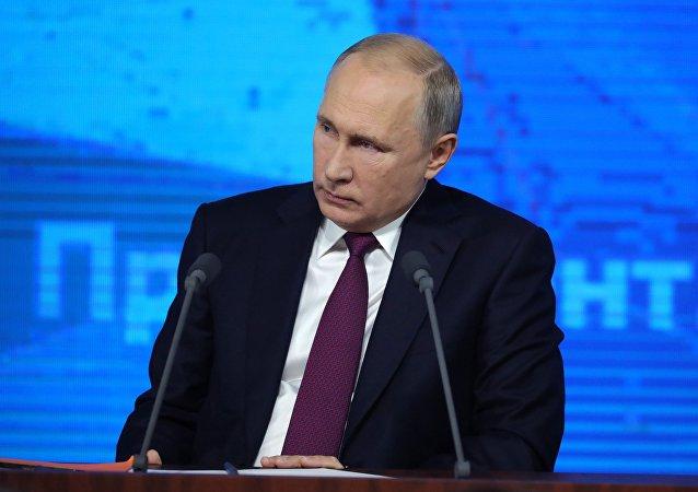 El presidente de Rusia, Vladímir Putin, durante la gran rueda de prensa anual