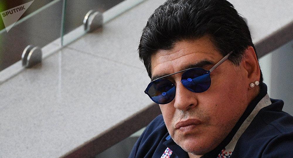El jugador argentino Diego Maradona en un partido del Mundial de Rusia 2018
