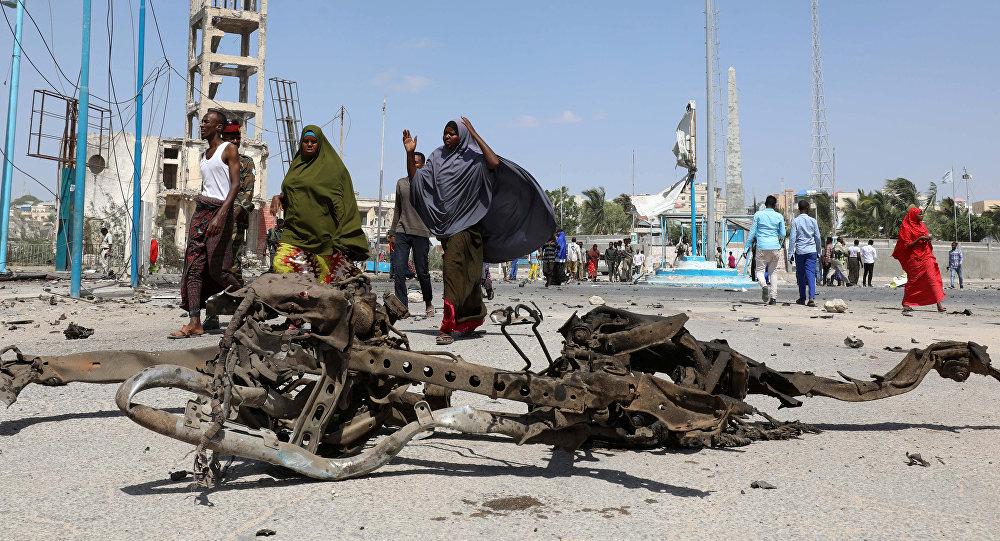 Lugar de la explosión en Mogadiscio, Somalia