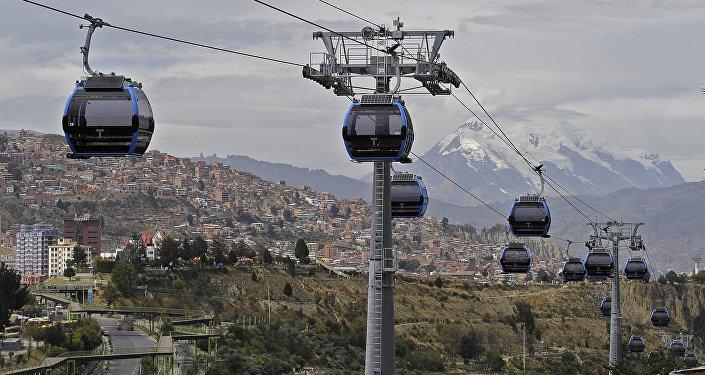 La línea azul de Mi telférico en La Paz