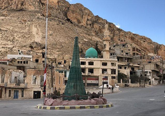 El Árbol de Navidad en la ciudad de Malula, Siria