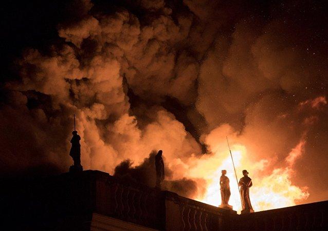 El incendio en el Museo Nacional de Brasil en Río de Janeiro