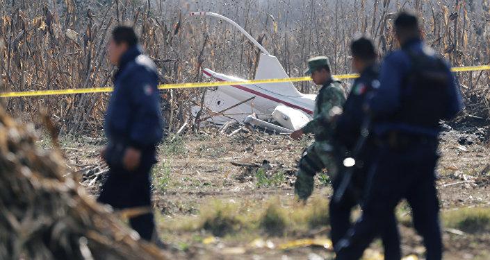 Lugar del siniestro del helicóptero en México