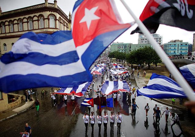 Las banderas cubanas (archivo)