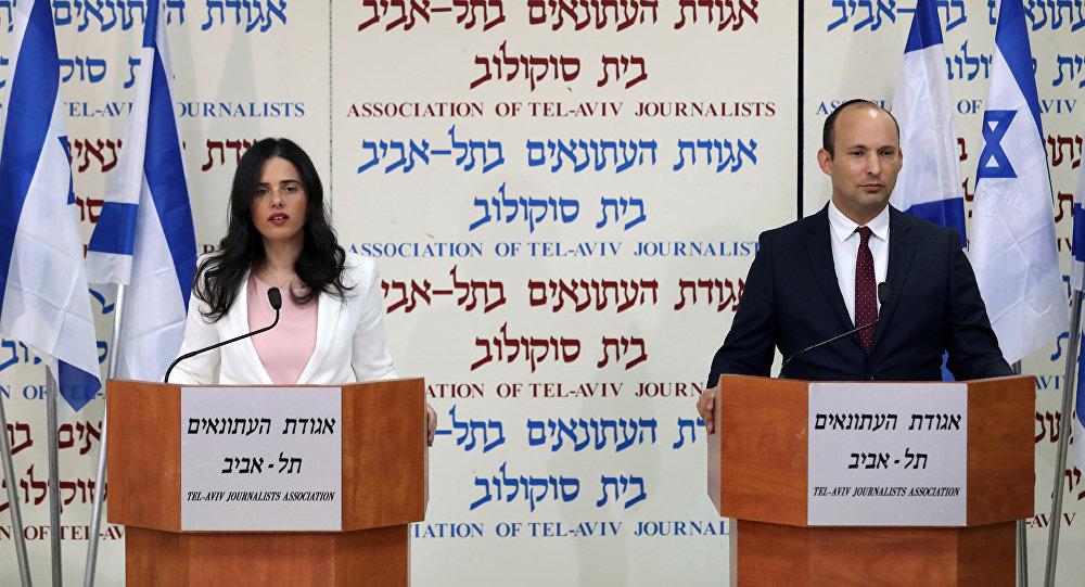 Los ministros de Educación y Justicia de Israel, Naftali Bennet y Ayelet Shaked