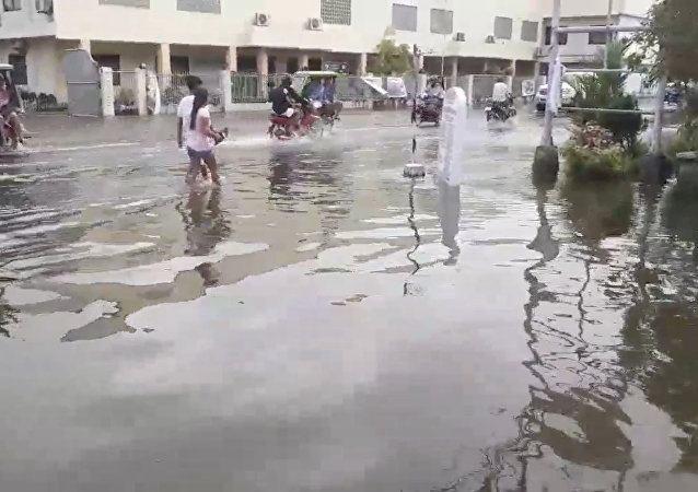 Consecuencias de una tormenta tropical en Filipinas