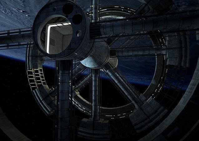 Cosmódromo orbital (ilustración gráfica)