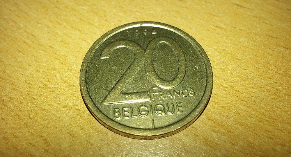 Una moneda de 20 francos belgas