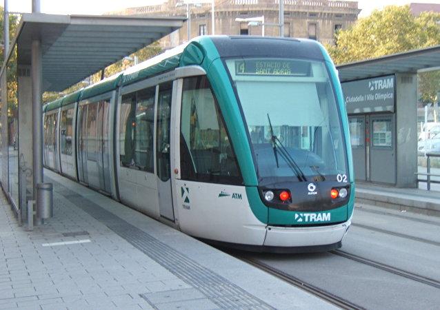 Un tranvía en Barcelona
