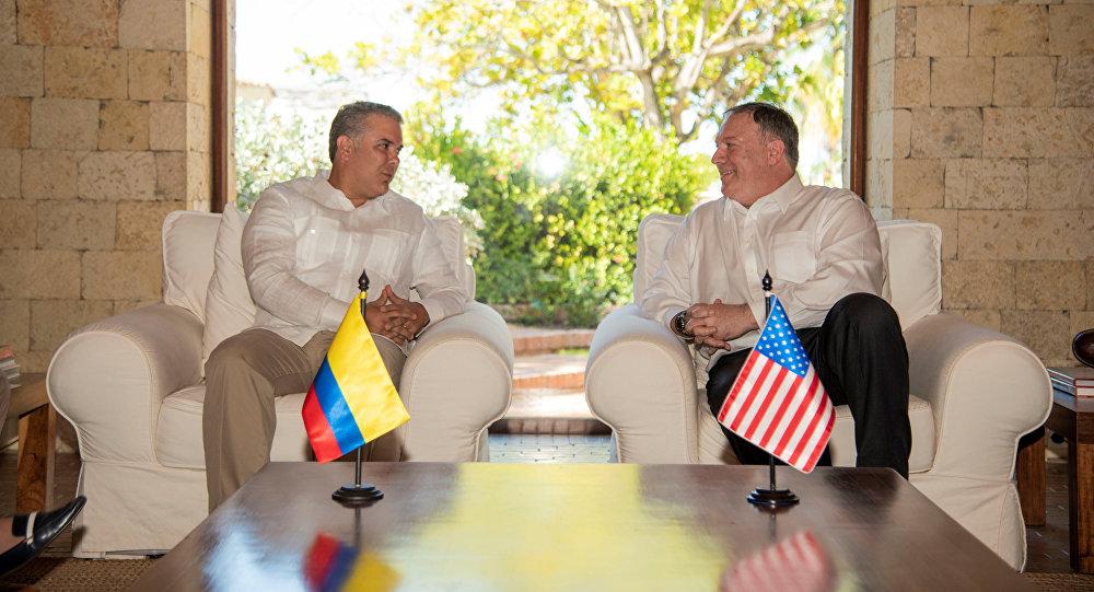 Iván Duque, presidente de Colombia, y Mike Pompeo, secretario de Estado de EEUU