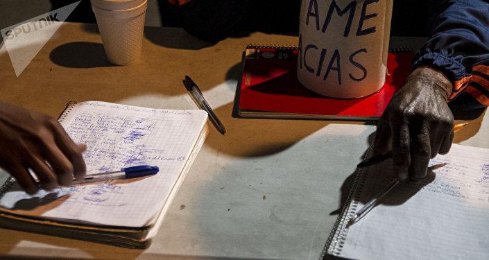 Cuadernos para la recolección de firmas en apoyo a las demandas de los manifestantes