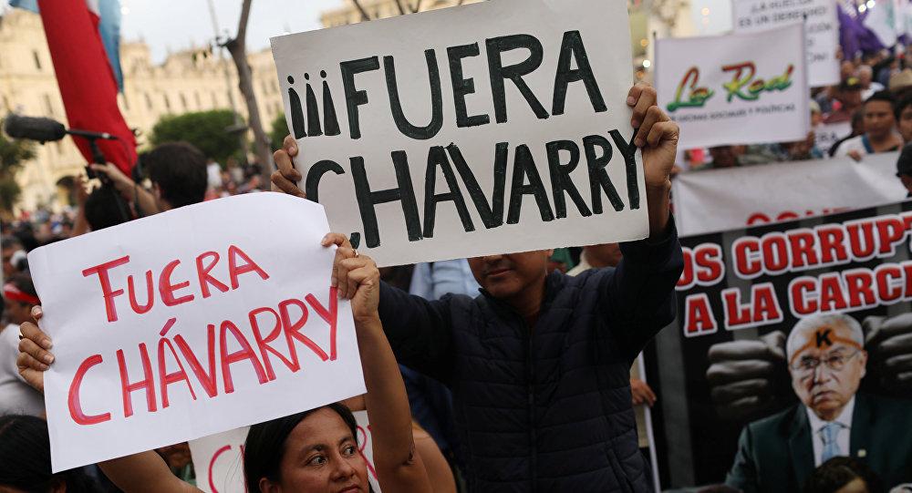 La manifestación contra fiscal general peruano Pedro Chávarry