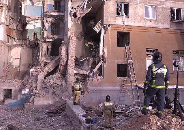 Colapso de un edifico residencial en Magnitogorsk, Rusia
