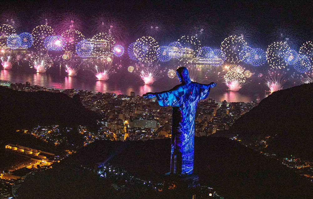 La celebración de Año Nuevo en Río de Janeiro, Brasil