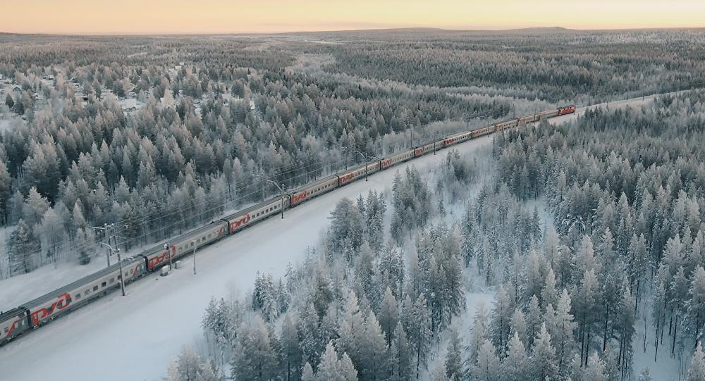 Tren ruso en invierno
