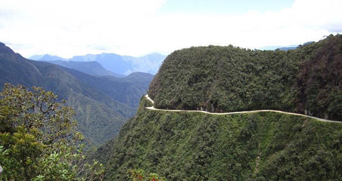 La antigua ruta de La Paz a Coroico, en Bolivia, considerada por algunos la ruta más peligrosa del mundo