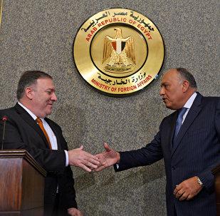 El secretario de Estado de EEUU, Mike Pompeo, y el ministro de Exteriores de Egipto, Sameh Shukri
