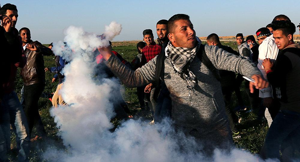 Manifestantes en la Franja de Gaza