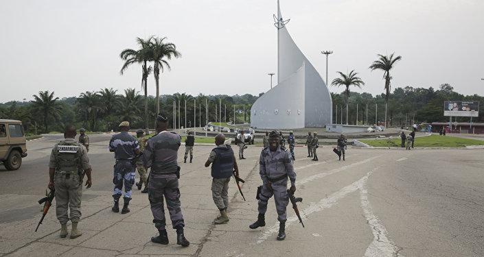Fuerzas leales al presidente de Gabón en la capital Libreville, 7 de enero de 2019