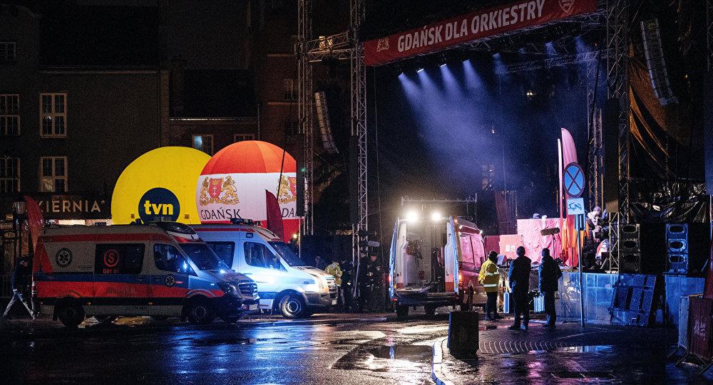 El lugar del ataque con cuchillo en Gdansk