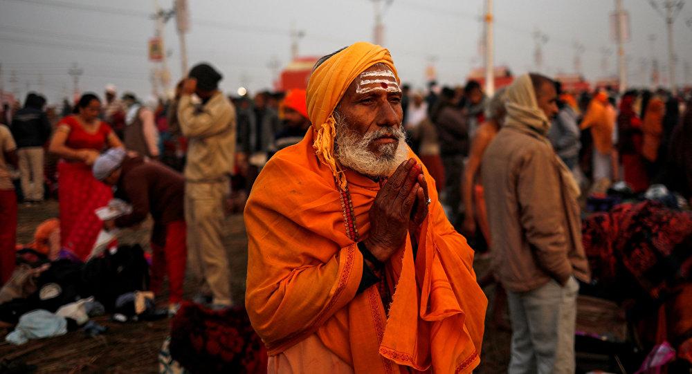 Los peregrinos en Allahabad, India