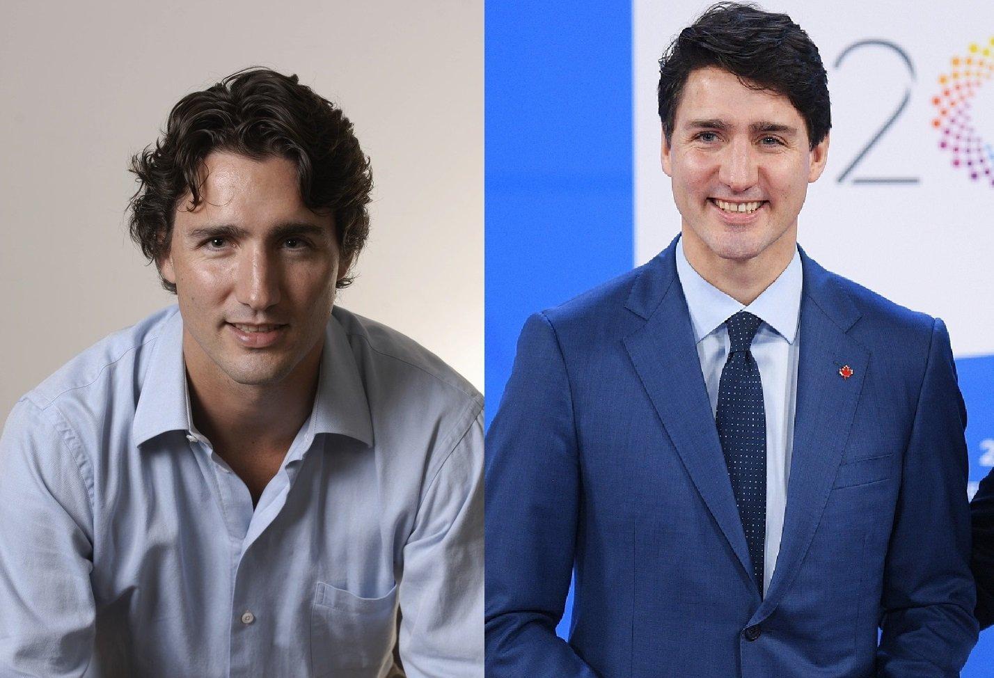 El actual primer ministro canadiense, Justin Trudeau, en el 2008 / en el 2018